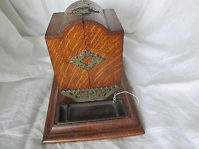 antique wooden ciggarette box / fold out compartments / built in brass ashtrays