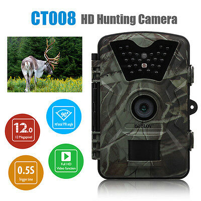12MP Wildlife Hunting Scouting Infrared Night Vision Trail Camera 1080P Video HD