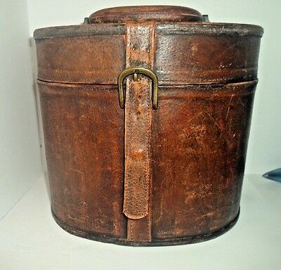 Vintage Leather Top Hat Carrying Case With Handle Decorator Chic Millinery Case