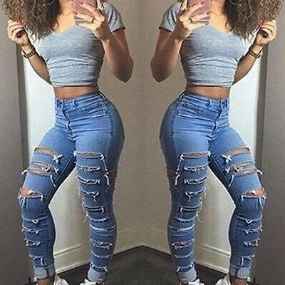 Women Denim Skinny Ripped Pants HighWaist Stretch Jeans Slim Pencil Trousers lot