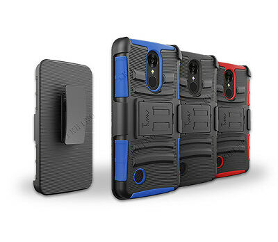 For ATT LG Phoenix 3 Rugged Hybrid Kickstand Hard Soft Cover Case With Belt Clip