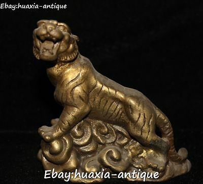 9CM Old China Fengshui Ancient Bronze 12 Zodiac Year Tiger Tigers Animal Statue