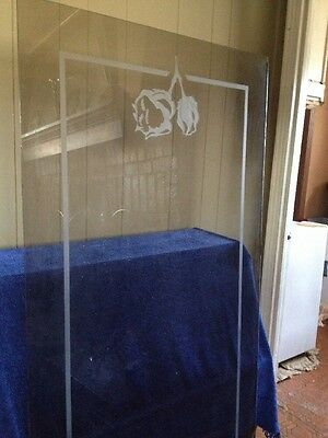 Smoke Glass  Etched 65 X 31 Rectangle Door Insert / Table Top