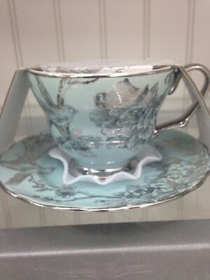 222 Fifth 2 PC Metallic Spring Silver Rims Adelaide Tea Coffee Cup Saucer Set
