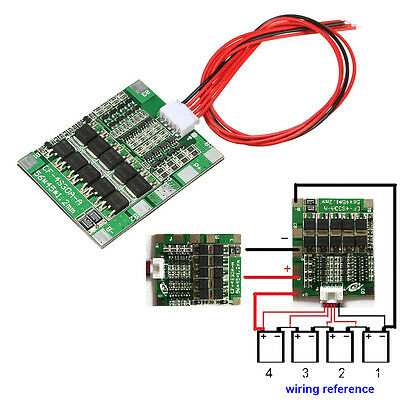 4S 14.8V 30A BMS PCB Protection Board 18650 Li-ion Lithium Battery Cell Balance