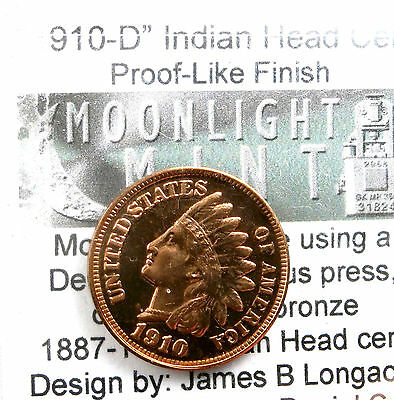 Daniel Carr 1910-D Indian Head Cent Overstrike Scarce Proof Like