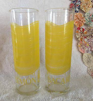 Set of 2 Vintage Bacardi Limon Rum Tall Glasses Bright Lemon Yellow Design Nice