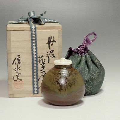 TAMBA CHAIRE Japanese Signed Pottery Tea Caddy by Shinsui w TOMOBAKO #2208