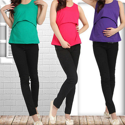 Elastic Mother's Breast Feeding Clothing Maternity Top Nursing Tank Top Vest