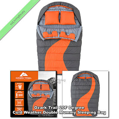 Ozark Trail Cold Weather Double Mummy Sleeping Bag 2 Person Adults Camping Bags