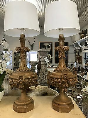 Heavily Carved Timber French or Italian Vintage Lamp - Pair Available