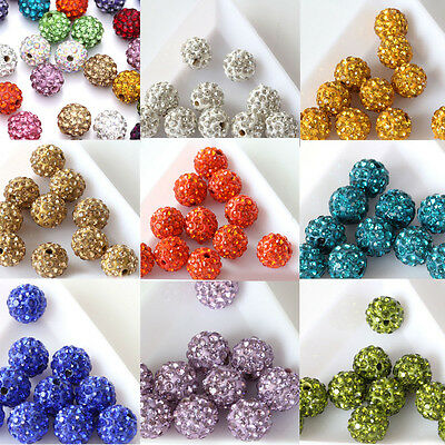 20Pcs Czech Crystal Rhinestone Pave Clay Round Spacer Loose Bead Disco Ball 10MM