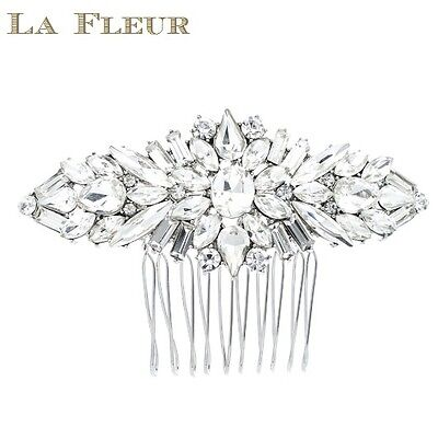 Art Deco Crystal Rhinestone Bridal Hair Comb Silver Wedding Headpiece