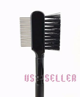 NEW Pro Eyebrow Eyelash Dual-Comb Extension Brush Metal Comb Cosmetic Makeup 1pc