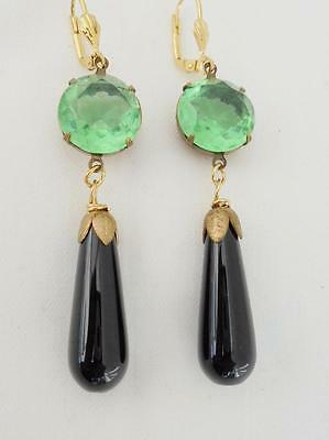 Art Deco Vintage Perid0T & Black Onyx  Drop  Earring Retro Bridal