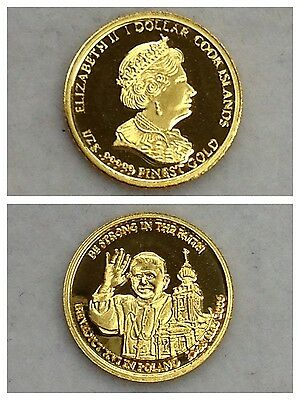 Münze Elisabeth Ii 1 Dollar Cook Islands 999er Gold Benedict Xvi In