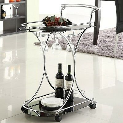 Coaster Contemporary Serving Cart, Black/Chrome