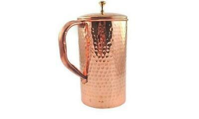 Pure Copper Jug (inside/ out) w/ Cover hammered Water Pitcher 62 oz Ayurveda