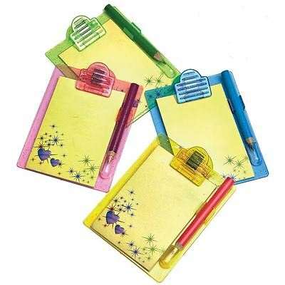 4pk Mini Clipboards & Pencils Favour Birthday Party Look Bag