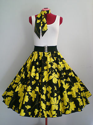 "ROCK N ROLL/ROCKABILLY ""Tropical Hawaii"" SKIRT & SCARF S-M Black/Yellow."