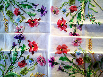 Beautiful Vintage Hand Embroidered Tablecloth~Meadow Flowers-Poppy/Thistle/wheat