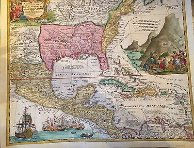1720 MAP North America BRITISH. FRENCH SPANISH POSSESSIONS VERY SPECIAL ARTWORK