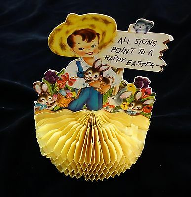 Doubl-Glo Front & Back Yellow Honeycomb Happy Easter Greeting Cd c1950