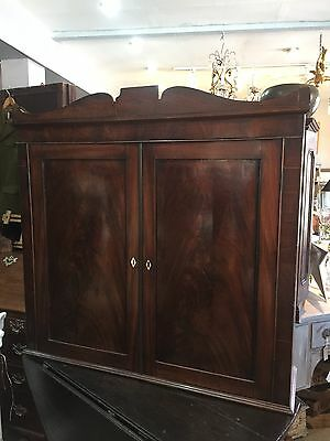 Large Antique Flame Mahogany Georgian Bookcase Cupboard