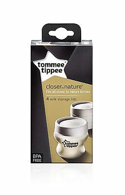 Tommee Tippee Closer to Nature Milk Bottle Storage Lids 4 Lid Storing BPA Free