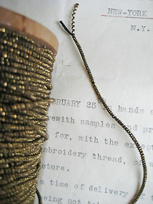 """4 yd Vintage/Antique French Dk Gold Metallic Beadette Cord Trim 1/16"""" Lampshade"""