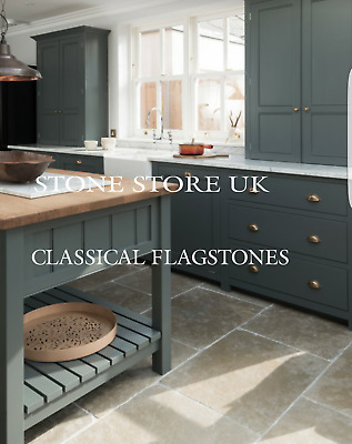 Brushed Chipped Minster Limestone Tumbled Aged Flagstones Antique Floor Tiles