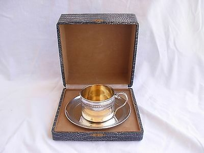 ANTIQUE FRENCH STERLING SILVER TEA CUP & SAUCER,EARLY 20th CENTURY.