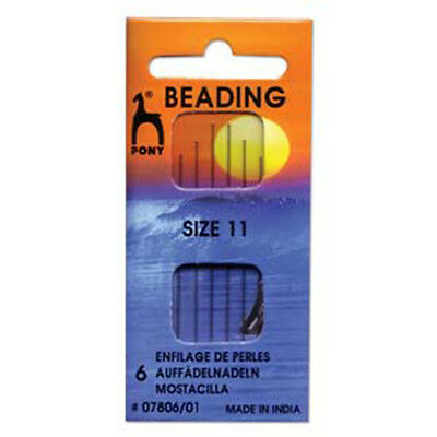 Pony Beading Needles Pack of 6 Sizes 11 Jewellery Making