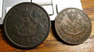1852 1/2 Penny & 1852 Penny Tokens - Bank of Upper Canada
