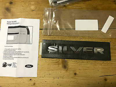 "New Genuine Ford - Fiesta Silver Chrome Tailgate Badge Emblem Mk6 ""silver"""
