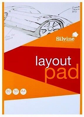 Layout Pad Blank Paper Acid Free -Silvine 50 gsm 50 Sheets A4- WH2 -R3C 871 NEW