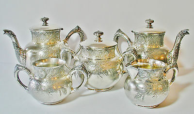 Silver City Meriden 1800s 5-Piece Silverplate Coffee Teapot Set