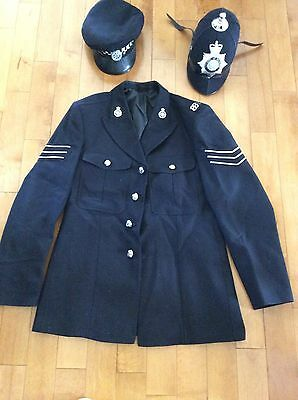 Authentic British Bobby hats and jacket w pins and buttons