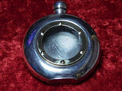 Vintage Colibri Pewter Sailing Flask With Brass Port Ring Sheffield England