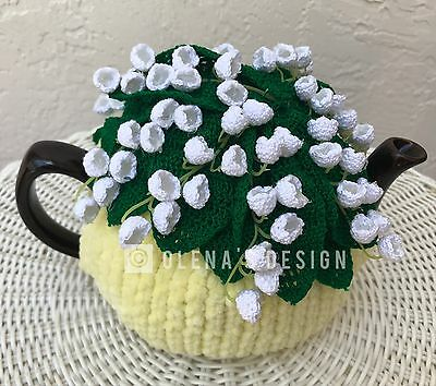 Handmade Crochet tea cozy yellow tea cover lily of the valley spring flowers cos