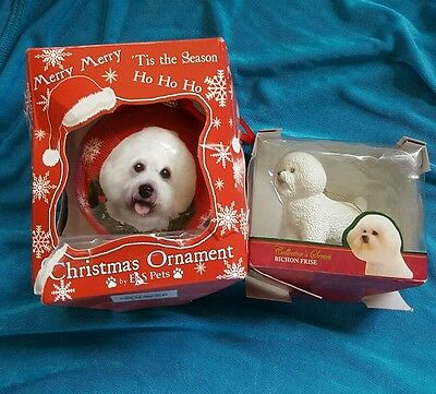 2 Bichon Frise  ornaments 1, Ball Dog Christmas Ornament and 2, standing dog.