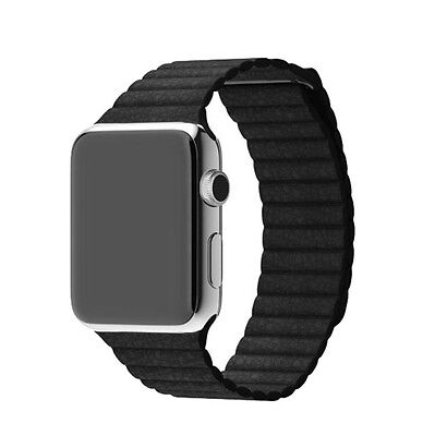 PU Leather Loop with Magnet Lock Strap Replacement Band for Apple Watch 42mm BLK