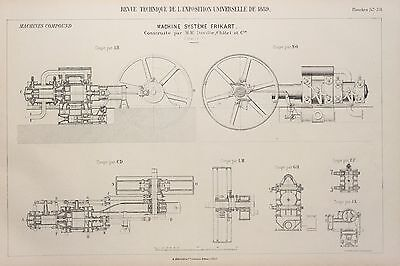 Antique 1889 Engineering Print - French - Steam Engines Machines Mechanics 57/58