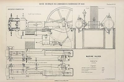 Antique 1889 Engineering Print - French - Steam Engines Machines Mechanics 65/66