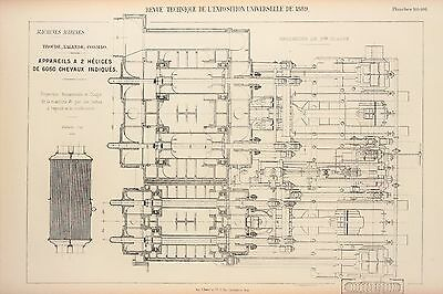Antique 1889 Engineering Print - French - Steam Engines Machines Mechanics 105