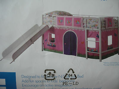 Kids Loft Bed Bunk Bed Twin Slide Ladder Play House Curtain Set Included Girl