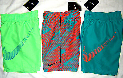 NWT NIKE Boys Swim Trunks Sz 4 5 6 Green Teal Orange Solid Print Swimwear S M L