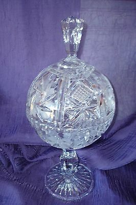 Antique/vtg Crystal Etched  Compote With Lid~Huge~13 1/2 Tall~Mint