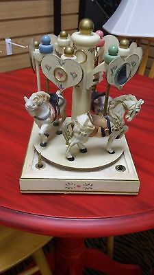 Collectible All wood Wind up Musical Carousel  Vintage 1985