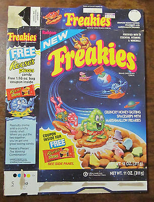 Freakies cereal box 1987 1980s 80s 11oz. + proof of purchase - with NEW banner!